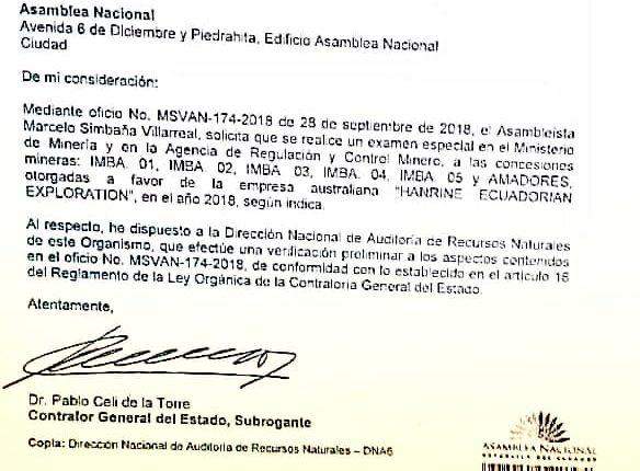 Gobierno dispone a Contraloría,  por pedido de la Asamblea, revisar contratos de concesiones mineras entregadas en gobierno anterior.