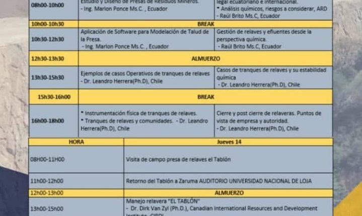 SEMINARIO INTERNACIONAL DE DISEÑO, CONSTRUCCIÓN Y OPERACIONES DE PRESAS DE RELAVES EN PEQUEÑA MINERÍA