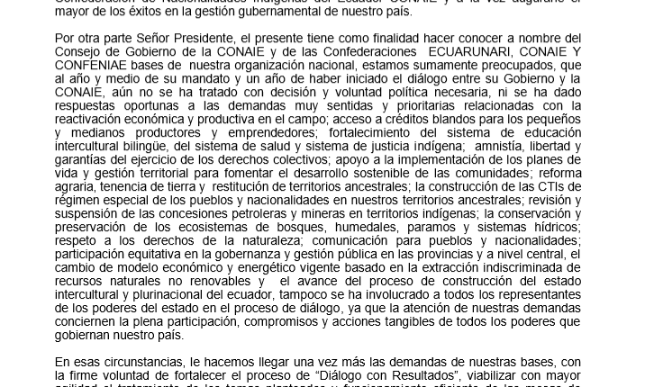 CONAIE LANZA MANIESTO EN APOYO A LA MARCHA CONTRA LA MINERIA Y LA CORRUPCIÓN