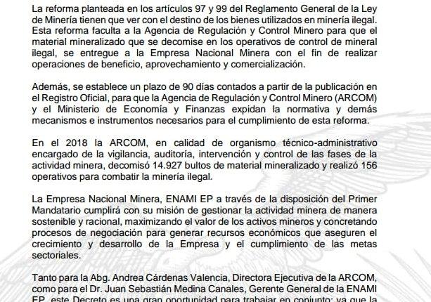 LA ARCOM TRABAJARÁ EN CONJUNTO CON LA ENAMI EP EN BENEFICIO DEL PAÍS.
