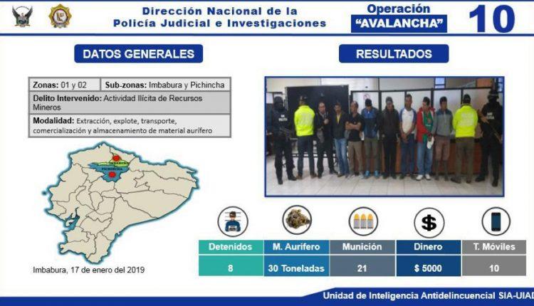 600 sacos con material mineralizado y 36 equipos decomisados en un operativo en Buenos Aires.