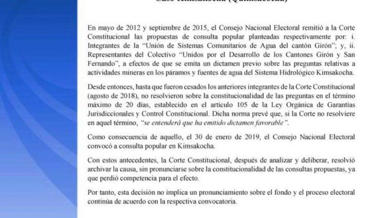 Batalla jurídica por la minería en Ecuador
